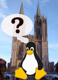 Le Tux de Linux à Coutances, Manche, Normandie, France.