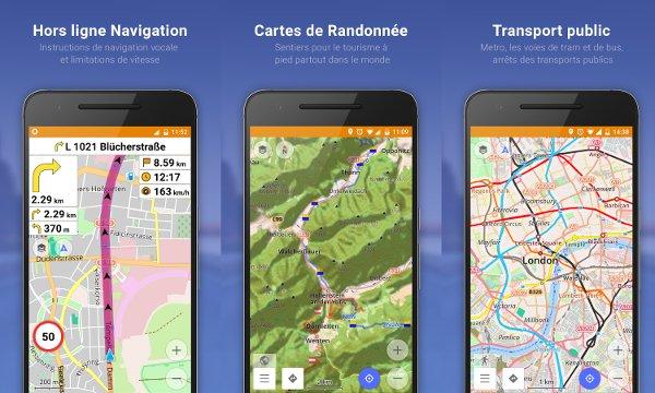 OsmAnd cartes et navigation auto rando transports