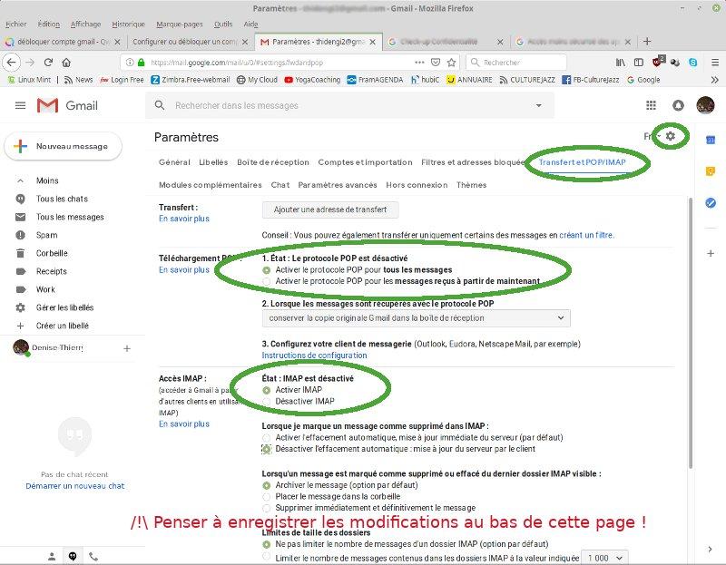 Gérer les paramètres IMAP sur Gmail pour Thunderbird.