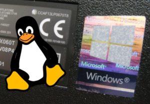 Tux de Linux et la fenêtre windows cohabitent