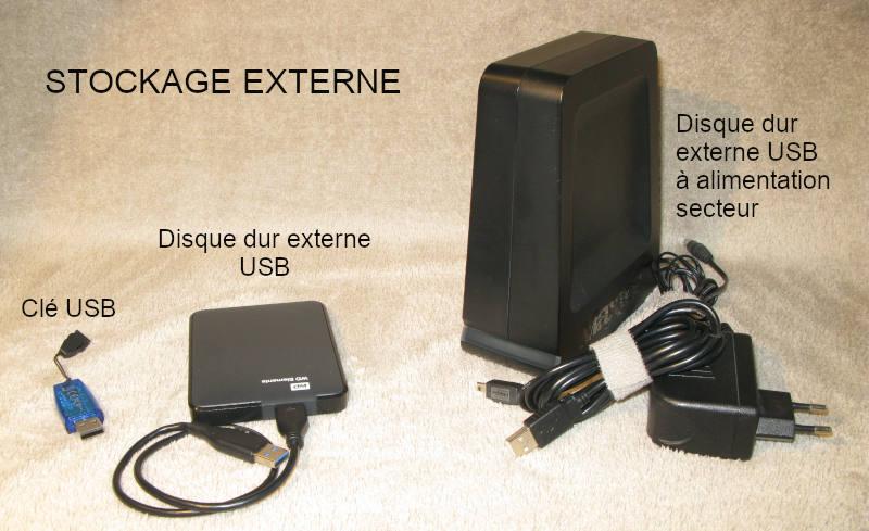 Trois systèmes de stockage externe, la clé USB, le disque dur USB et le disque dur USB sur secteur.