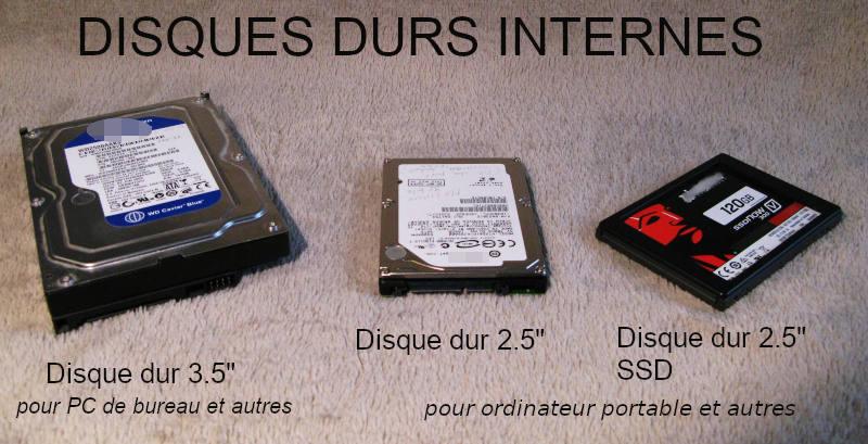 """Trois types de disques durs internes, 3.5"""", 2.5"""" et 2.5"""" SSD."""
