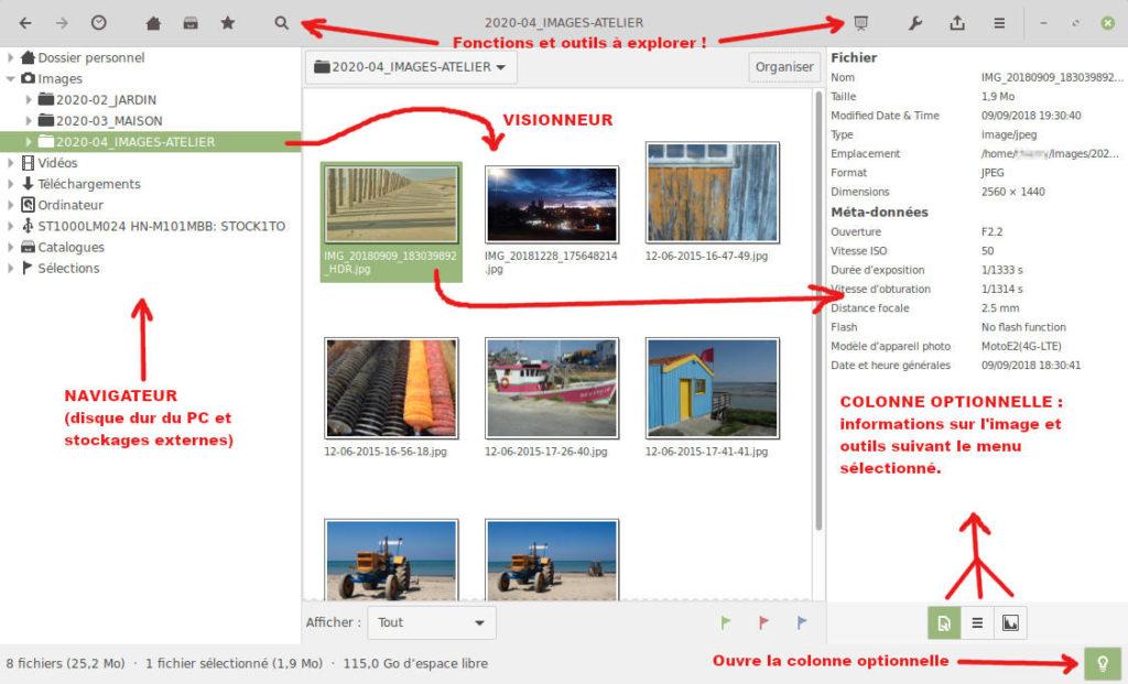 gThumb, visionneuse d'images pour Linux - Interface détaillée