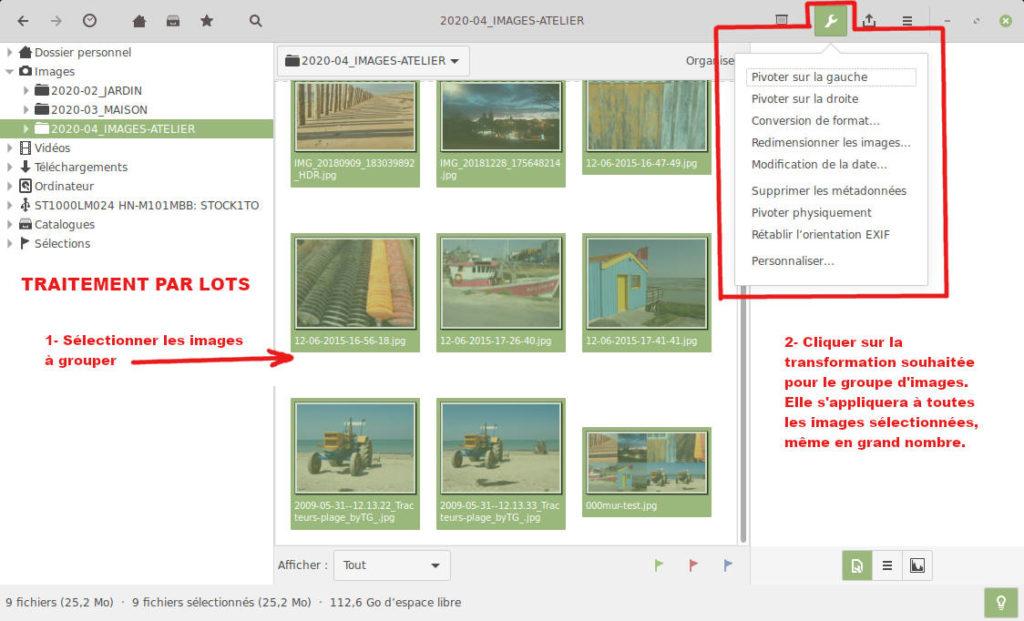 gThumb, visionneuse d'images pour Linux - Traitement par lots