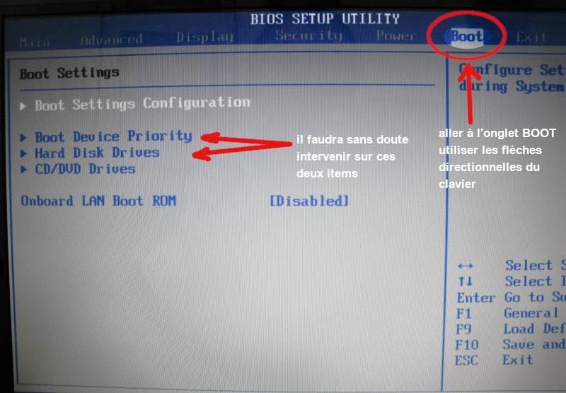 BIOS Setup PC, modifier le boot (1)