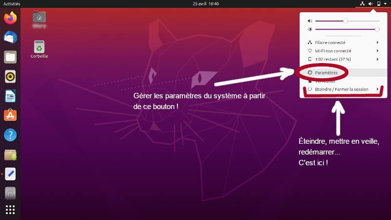 Bureau d'Ubuntu 20.04 LTS, commandes principales