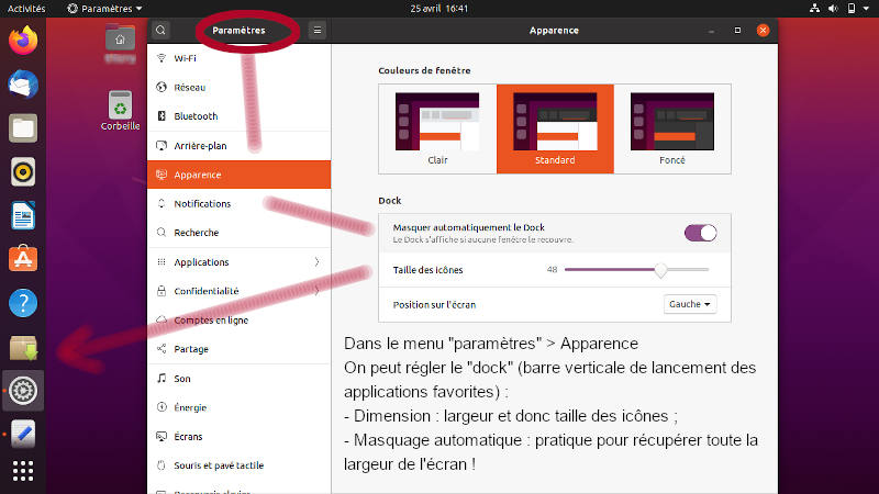 Bureau d'Ubuntu 20.04 LTS, réglage du dock