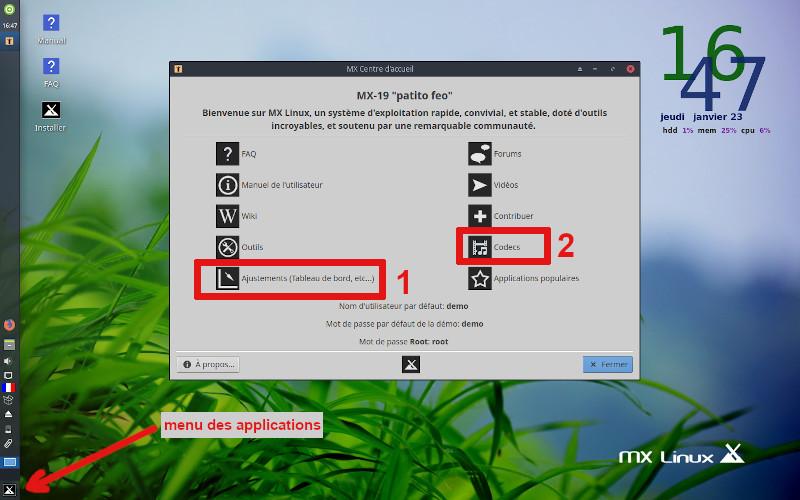 MX Linux, le bureau et le centre d'accueil. Accès rapide à la configuration.