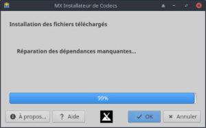 MX Linux, l'installateur de codecs.