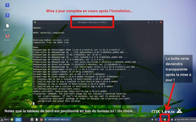 MX Linux, affichage de la mise à jour complète après installation.