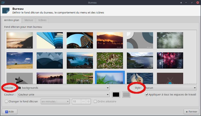 MX Linux, changer l'arrière-plan du bureau.