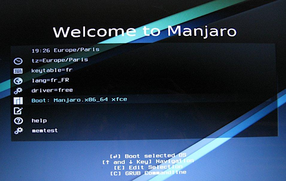 Ecran accueil Manjaro en Live USB