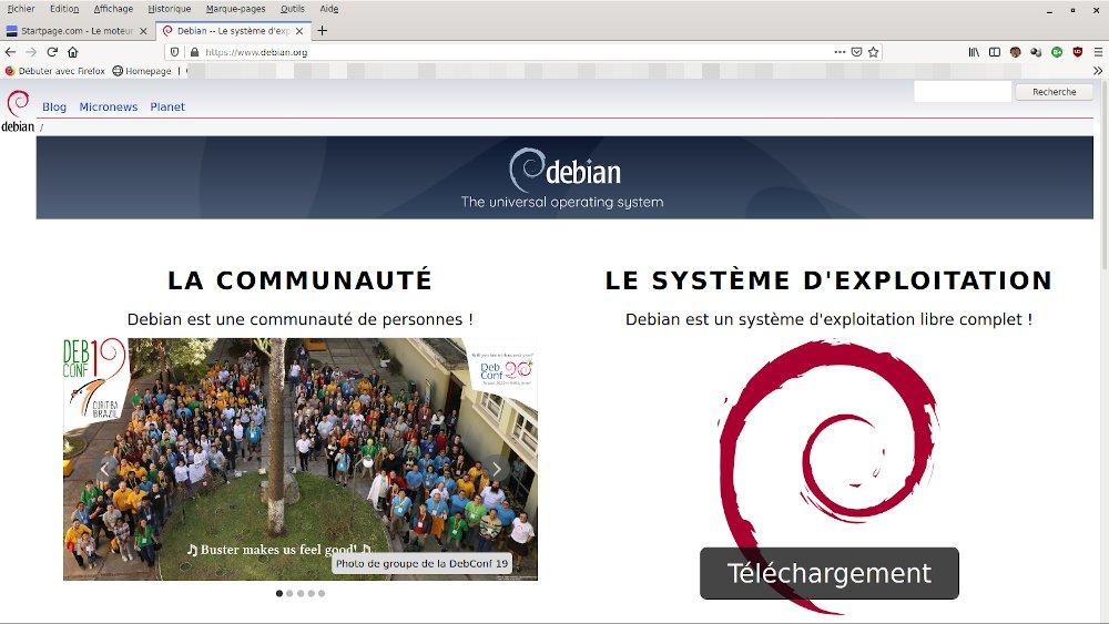 Debian page d'accueil du site debian.org