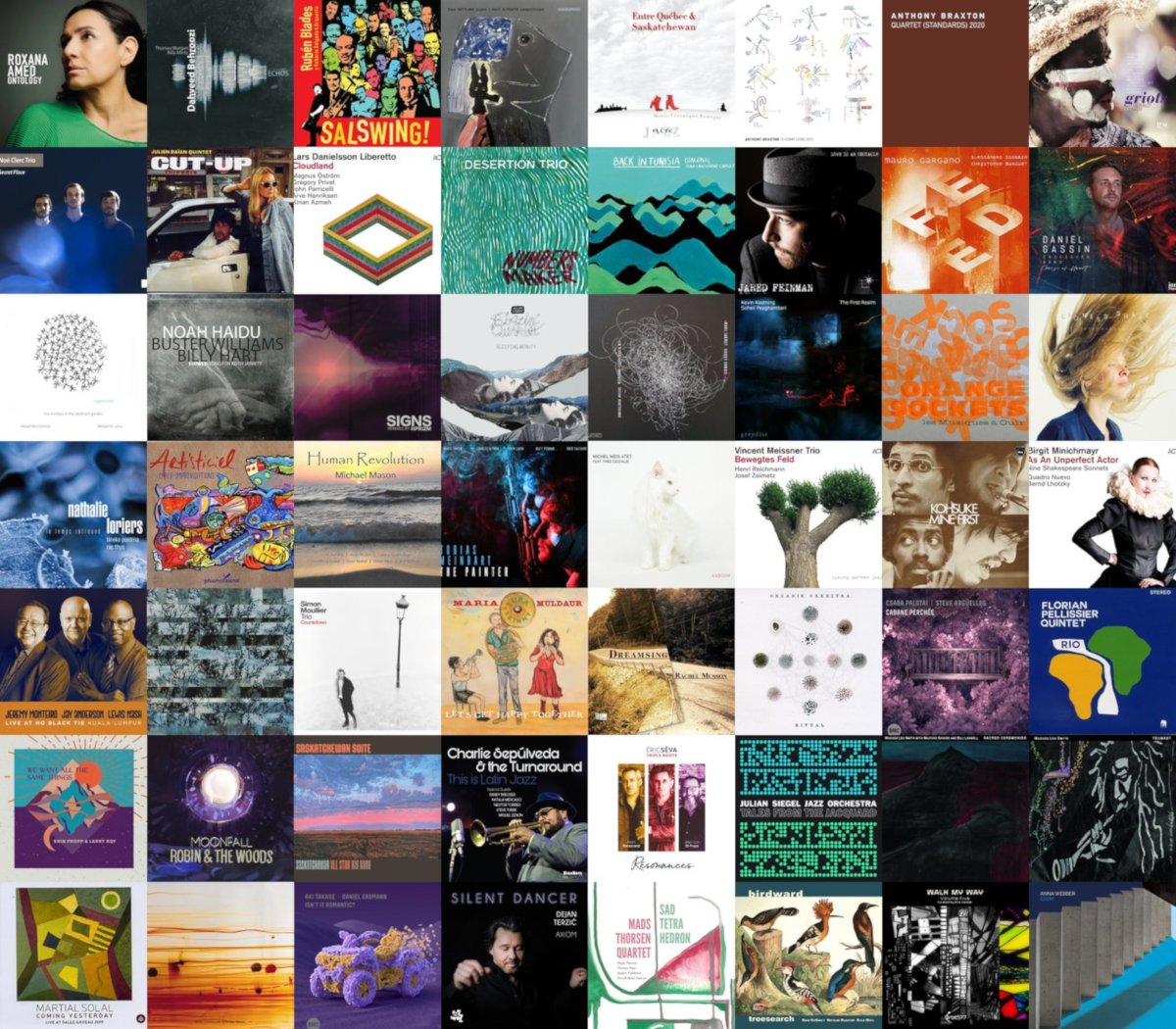 Mosaïque des pochettes des disques jazz, mai 2021, catalogue Zarbalib.fr.