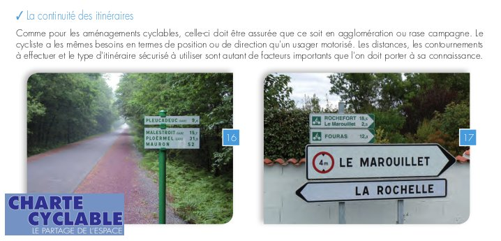 La continuité des itinéraires vélo - préconisations de la Charte Cyclable 2019